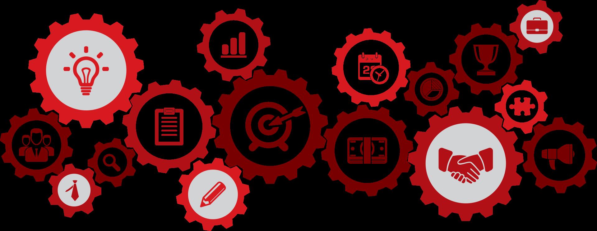 labor symbols such as gears, light bulbs, etc.